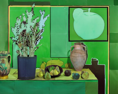 Jade Plant with Pears and Green Apples